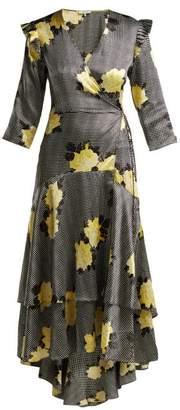 Ganni Calla Silk Blend Wrap Dress - Womens - Black Multi