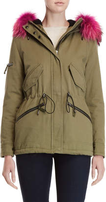 SAM. Real Fur Trim Hooded Twill Jacket
