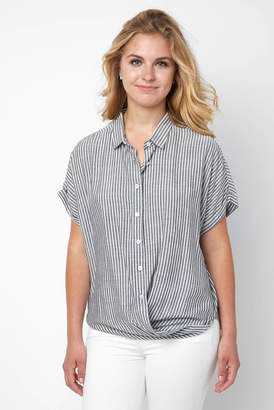 BCBGeneration Striped Wrap Hem Button Down Shirt
