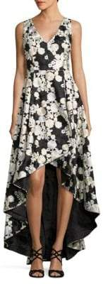 Calvin Klein Embroidered Floral Hi-Lo Gown