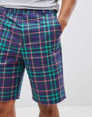Asos DESIGN skater shorts in bright check