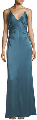 Halston Long Evening Slip Gown w/ Side Gathers