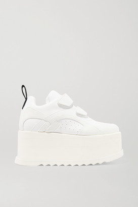 Stella McCartney Eclypse Faux Leather-trimmed Faux Suede Platform Sneakers - White