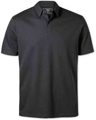 Charles Tyrwhitt Plain Charcoal Jersey Cotton Polo Size XL