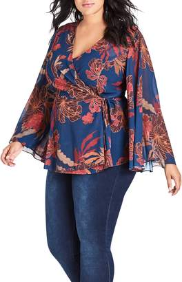 City Chic Fire Bloom Wrap Top