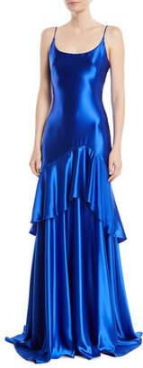 Theia Satin Slip Gown w/ Flounce Skirt