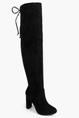 boohoo Block Heel Lace Up Back Thigh High Boots