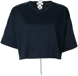 Diesel Black Gold woven tie back cropped T-shirt