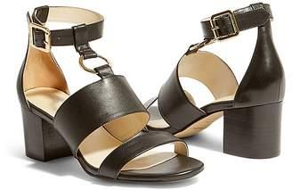 Karen Millen Women's Leather Block Heel Sandals