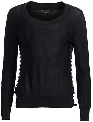 Akris Studded Lurex Silk Knit Pullover Sweater