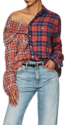 R 13 Women's Plaid Cotton Off-The-Shoulder Shirt