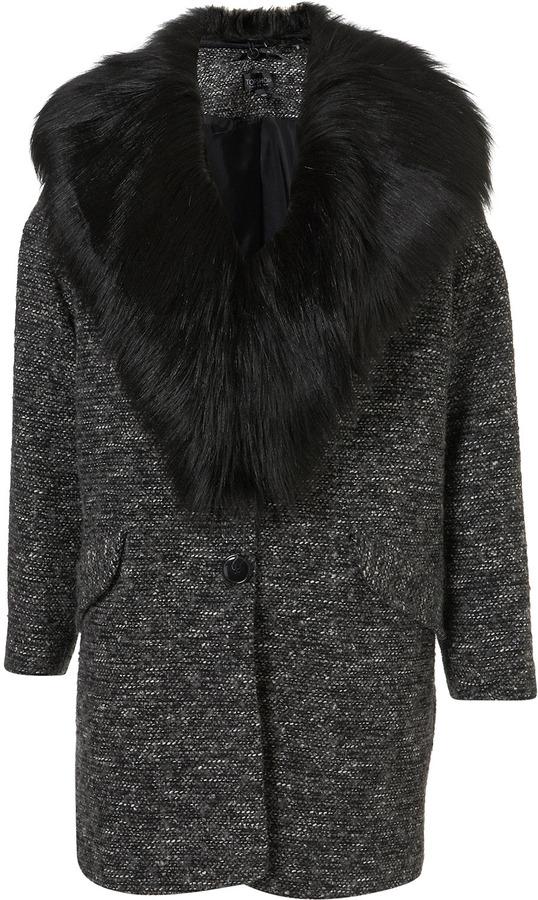 Textured Fur Collar Boyfriend Coat
