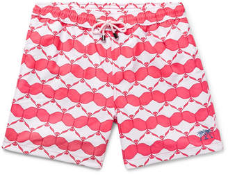Mustique Pink House Mid-Length Printed Swim Shorts
