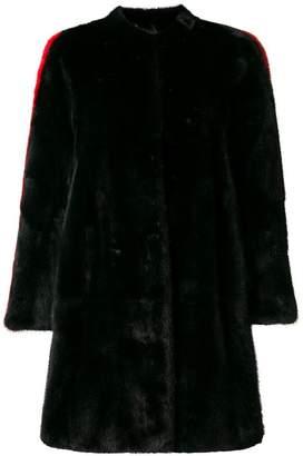 Philipp Plein side stripe detail fur coat