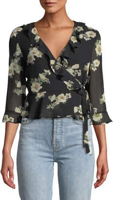 Bardot Catalina Floral-Print Ruffle Wrap Top