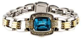Lagos Two-Tone Topaz & Diamond Caviar Link Bracelet