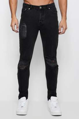 boohoo Skinny Fit Jeans With Distressing