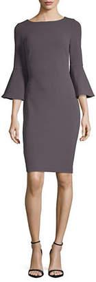 Calvin Klein Bell Sleeve Scuba Crepe Sheath Dress