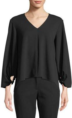 Tibi V-Neck Long-Sleeve Crepe Top