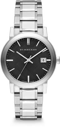 Burberry Men's BU9001 Large Check Stainless Steel Bracelet Black Dial Watch