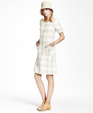 Textured Dobby Cotton-Blend Plaid Dress $498 thestylecure.com