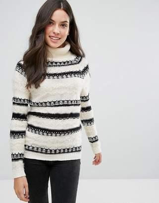 Brave Soul Osha Roll Neck Stripe Sweater