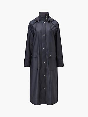 Four Seasons Long Waterproof Wax Coat, Black Tulip