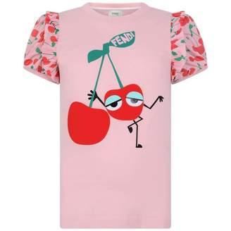 Fendi FendiGirls Pink Cherry Print Top