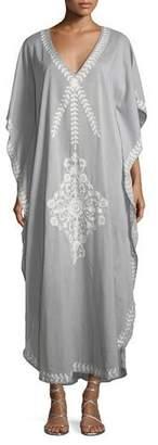 Flora Bella Saadi V-Neck Cotton Voile Kaftan Coverup w/ Embroidery