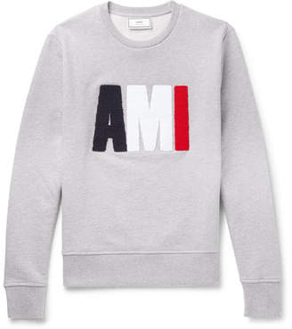 Ami Terry-Detailed Loopback Cotton-Jersey Sweatshirt - Men - Gray