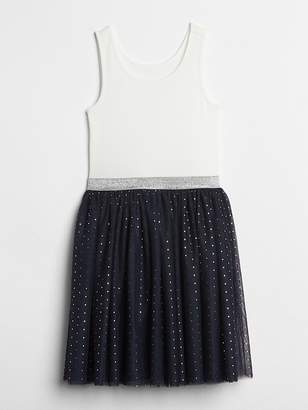 Gap Dot Tulle Mix-Fabric Dress