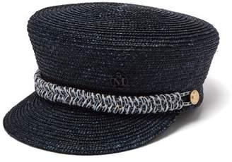 Maison Michel Abby Straw Baker Boy Cap - Womens - Navy