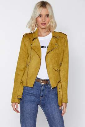 Nasty Gal Snap Out of It Faux Suede Moto Jacket