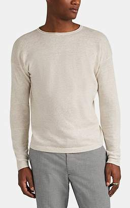 Eidos Men's Mélange Linen-Cotton Crewneck Sweater - Cream