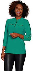 Susan Graver Textured Liquid Knit 1/2 Zip Tunic