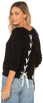 Monrow Athletic Lace Up Sweatshirt