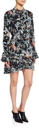 Derek Lam 10 Crosby Printed Tie-Neck Long-Sleeve Dress