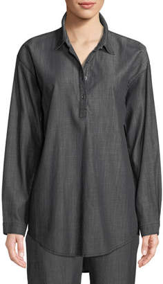 Eileen Fisher Denim Long-Sleeve Tunic