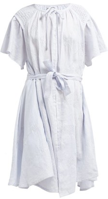 Innika Choo Geometric Embroidered Smocked Linen Midi Dress - Womens - Light Blue