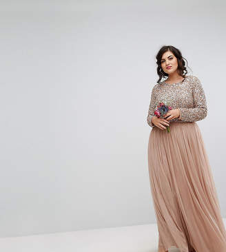Maya Plus Long Sleeved Maxi Dress With Delicate Sequin And Tulle Skirt
