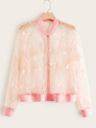 Shein Plus Appliques Patch Embroidered Mesh Bomber Jacket