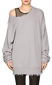 Taverniti So Ben Unravel Project Women's Distressed Cotton-Cashmere Oversized Sweater - Light Gray