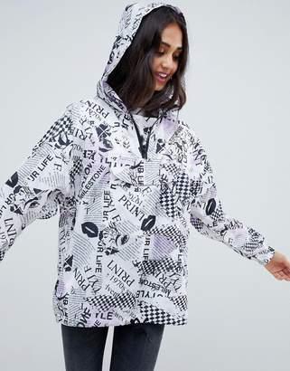 Asos DESIGN Pop Art Mono Overhead Jacket