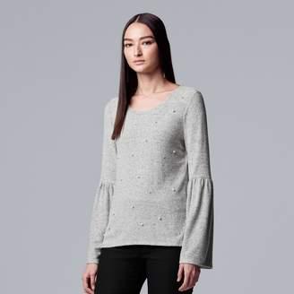 Vera Wang Women's Simply Vera Embellished Bell-Sleeve Sweater