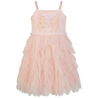 Kate Mack Kate MackGirls Pink Flower Applique Tulle Dress With Diamantes