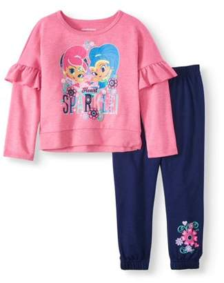 SHIMMER AND SHINE Shimmer & Shine Ruffle Sleeve French Terry Top & Jogger Pants, 2pc Outfit Set (Toddler Girls)