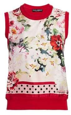 Dolce & Gabbana Floral Foulard Silk Sleeveless Top