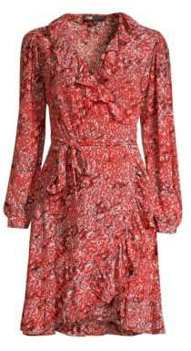 Maje Printed Ruffled Wrap Dress