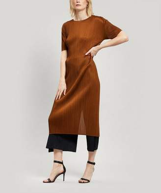 Pleats Please Issey Miyake Pleated Short Sleeve Midi-Dress