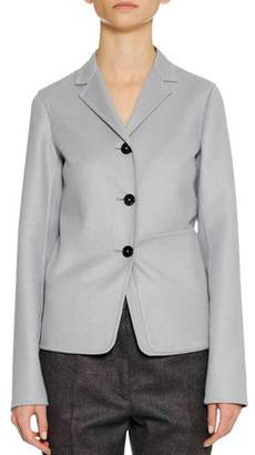 Jil Sander Three-Button Shrunken Cashmere Jacket w/ Oversized Patch Pocket